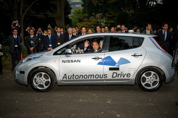 Japan's Prime Minister Rides in Nissan LEAF for First Autonomous
